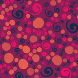 Twirls and dots pattern. Seamless Twirls and dots pattern of violet color Stock Image