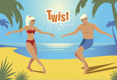 Twist on the Beach. Young couple dancing twist on the beach. Retro style Stock Photos