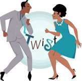 The Twist. Black couple dressed in late 1950's early 1060's fashion dancing twist, vector illustration Stock Photography