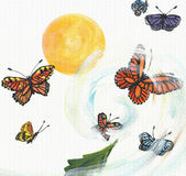 The twist of butterflies. The whirlwind carrying the colorful butterflies and frame the yellow sun Stock Photo