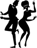 The twist couple silhouette. Black vector silhouette of a young stylish couple dressed in late 1950s early 1960s fashion dancing the Twist,  EPS 8 Royalty Free Stock Photo