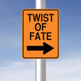 Twist of Fate. A modified one way road sign indicating Twist of Fate royalty free stock photos