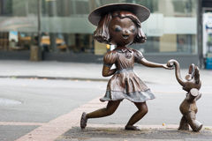 Twist statue by Tanja Jade McMillan aka Misery, Auckland. Auckland, New Zealand - March 1, 2017: Bronze statue of dancing girl with elephant, named Twist by the Stock Photography