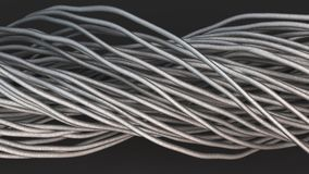 Twisted aluminum wires on black surface. Computer or telephone network. 3D rendering illustration Royalty Free Stock Photography