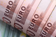 The twisted banknotes on 50 euros. Stock Images