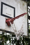 Twisted basketball hoop Stock Photo