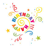 Twisted birthday. Vector illustration - twirl Happy Birthday royalty free illustration