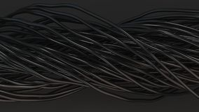 Twisted black cables and wires on black surface. Computer or telephone network. 3D rendering illustration Stock Photos