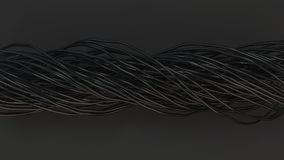 Twisted black cables and wires on black surface. Computer or telephone network. 3D rendering illustration Royalty Free Stock Images