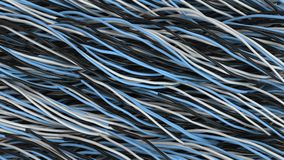 Twisted black, white and blue cables and wires on black surface. Computer or telephone network. 3D rendering illustration Stock Photography