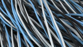 Twisted black, white and blue cables and wires on black surface. Computer or telephone network. 3D rendering illustration Royalty Free Stock Photos
