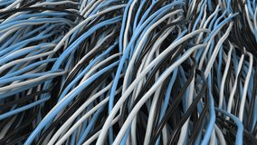 Twisted black, white and blue cables and wires on black surface. Computer or telephone network. 3D rendering illustration Royalty Free Stock Image