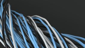 Twisted black, white and blue cables and wires on black surface. Computer or telephone network. 3D rendering illustration Royalty Free Stock Photo