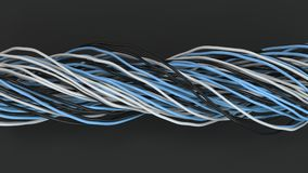 Twisted black, white and blue cables and wires on black surface. Computer or telephone network. 3D rendering illustration Stock Image