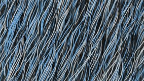 Twisted black, white and blue cables and wires on black surface. Computer or telephone network. 3D rendering illustration Royalty Free Stock Images