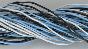 Twisted black, white and blue cables and wires on white surface. Computer or telephone network. 3D rendering illustration Royalty Free Stock Images