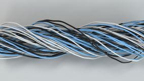 Twisted black, white and blue cables and wires on white surface. Computer or telephone network. 3D rendering illustration Stock Photo