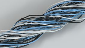 Twisted black, white and blue cables and wires on white surface. Computer or telephone network. 3D rendering illustration Stock Images