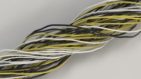 Twisted black, white and blue yellow and wires on white surface. Twisted black, white and yellow cables and wires on white surface. Computer or telephone network Royalty Free Stock Photos