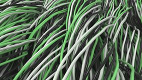 Twisted black, white and green cables and wires on black surface. Computer or telephone network. 3D rendering illustration Stock Photography
