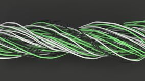 Twisted black, white and green cables and wires on black surface. Computer or telephone network. 3D rendering illustration Royalty Free Stock Photography