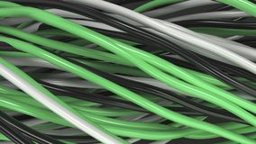 Twisted black, white and green cables and wires on black surface. Computer or telephone network. 3D rendering illustration Stock Images