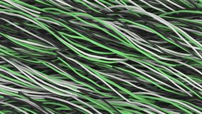 Twisted black, white and green cables and wires on black surface. Computer or telephone network. 3D rendering illustration Stock Photo