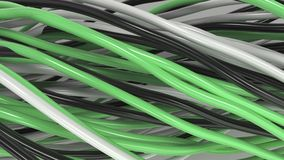 Twisted black, white and green cables and wires on white surface. Computer or telephone network. 3D rendering illustration Stock Images