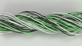 Twisted black, white and green cables and wires on white surface. Computer or telephone network. 3D rendering illustration Royalty Free Stock Photos