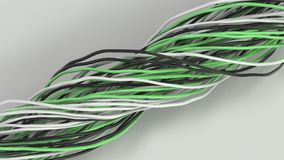 Twisted black, white and green cables and wires on white surface. Computer or telephone network. 3D rendering illustration Royalty Free Stock Photography