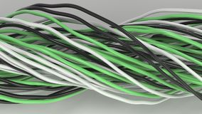 Twisted black, white and green cables and wires on white surface. Computer or telephone network. 3D rendering illustration Royalty Free Stock Images