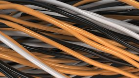 Twisted black, white and orange cables and wires on black surface. Computer or telephone network. 3D rendering illustration Royalty Free Stock Image
