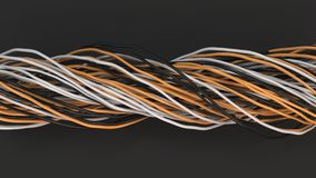 Twisted black, white and orange cables and wires on black surface. Computer or telephone network. 3D rendering illustration Stock Photos