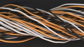 Twisted black, white and orange cables and wires on black surface. Computer or telephone network. 3D rendering illustration Stock Image