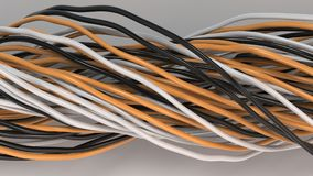 Twisted black, white and orange cables and wires on white surface. Computer or telephone network. 3D rendering illustration Royalty Free Stock Image