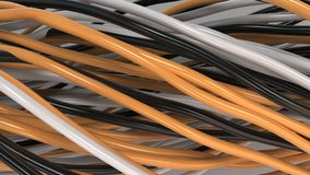 Twisted black, white and orange cables and wires on white surface. Computer or telephone network. 3D rendering illustration Royalty Free Stock Photo