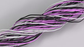 Twisted black, white and purple cables and wires on white surface. Computer or telephone network. 3D rendering illustration Stock Photo