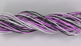 Twisted black, white and purple cables and wires on white surface. Computer or telephone network. 3D rendering illustration Royalty Free Stock Photography
