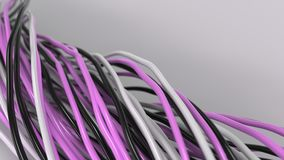 Twisted black, white and purple cables and wires on white surface. Computer or telephone network. 3D rendering illustration Royalty Free Stock Images
