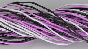 Twisted black, white and purple cables and wires on white surface. Computer or telephone network. 3D rendering illustration Royalty Free Stock Photo
