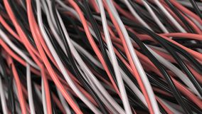 Twisted black, white and red cables and wires on black surface. Computer or telephone network. 3D rendering illustration Royalty Free Stock Photos
