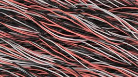Twisted black, white and red cables and wires on black surface. Computer or telephone network. 3D rendering illustration Stock Photos