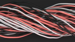 Twisted black, white and red cables and wires on black surface. Computer or telephone network. 3D rendering illustration Royalty Free Stock Image