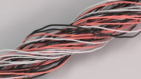 Twisted black, white and red cables and wires on white surface. Computer or telephone network. 3D rendering illustration Stock Image