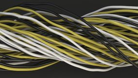 Twisted black, white and yellow cables and wires on black surface. Computer or telephone network. 3D rendering illustration Royalty Free Stock Image