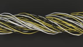 Twisted black, white and yellow cables and wires on black surface. Computer or telephone network. 3D rendering illustration Royalty Free Stock Photos