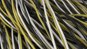 Twisted black, white and yellow cables and wires on black surface. Computer or telephone network. 3D rendering illustration Stock Image