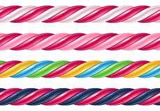 Twisted cane colorful borders set. Vector illustration. Stock Photos
