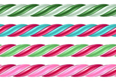 Twisted cane colorful borders set. Vector illustration. Royalty Free Stock Images