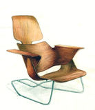 Twisted chair plywood Stock Photo